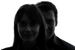 Fin d'homme de femme de couples vers le haut de silhouette de portrait Photo stock