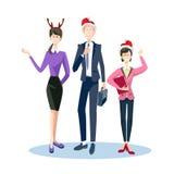 Les hommes d'affaires célèbrent des gens d'affaires de Team Santa Hat de Joyeux Noël et de bonne année Images stock