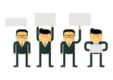 Les hommes d'affaires chinois tiennent des signes Photographie stock libre de droits