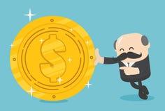 Les hommes d'affaires de concept d'illustration d'affaires tiennent un coi énorme du dollar illustration stock