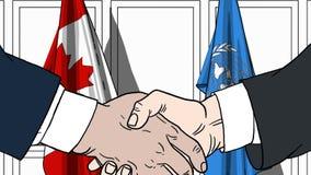 Les hommes d'affaires ou les politiciens se serrent la main contre des drapeaux de Canada et de Nations Unies Réunion ou coopérat illustration stock
