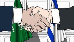 Les hommes d'affaires ou les politiciens se serrent la main contre des drapeaux de l'Arabie Saoudite et de l'Israël Réunion ou co illustration libre de droits