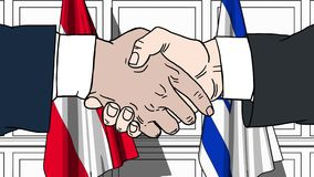 Les hommes d'affaires ou les politiciens se serrent la main contre des drapeaux de l'Autriche et de l'Israël Réunion ou coopérati illustration de vecteur