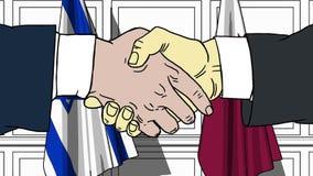 Les hommes d'affaires ou les politiciens se serrent la main contre des drapeaux de l'Israël et du Qatar Réunion ou coopération of illustration de vecteur
