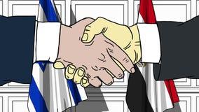 Les hommes d'affaires ou les politiciens se serrent la main contre des drapeaux de l'Israël et de l'Egypte Réunion ou coopération illustration de vecteur