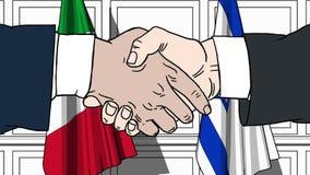 Les hommes d'affaires ou les politiciens se serrent la main contre des drapeaux de l'Italie et de l'Israël Réunion ou coopération illustration de vecteur