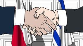 Les hommes d'affaires ou les politiciens se serrent la main contre des drapeaux de la Pologne et de l'Israël Réunion ou coopérati illustration de vecteur