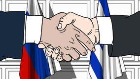 Les hommes d'affaires ou les politiciens se serrent la main contre des drapeaux de la Russie et de l'Israël Réunion ou coopératio illustration stock