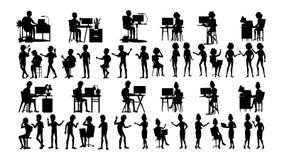 Les hommes d'affaires silhouettent le vecteur réglé Homme, femme Contour de groupe Forme de personne équipe professionnelle Procè illustration de vecteur