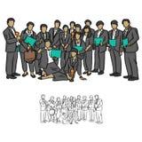 Les hommes d'affaires team tenant le trophée et la certification pour montrer le suc Illustration Libre de Droits