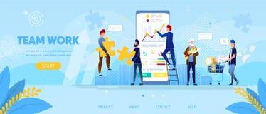 Les hommes d'affaires travaillent ensemble chez Smartphone énorme illustration libre de droits