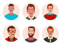 Les hommes d'avatar avec des verres dirigent l'illustration images stock