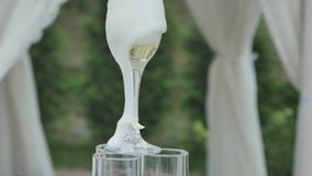 Les hommes de mains versent le champagne dans la glissière des verres Vin de conception de restaurant Pyramide de champagne clips vidéos