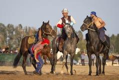Les hommes de nomade luttant à cheval, un cavalier a tombé son cheval photographie stock libre de droits
