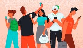 Les hommes et les femmes utilisent des smartphones pour communiquer Penchant d'Internet Téléphone comme source d'information illustration libre de droits