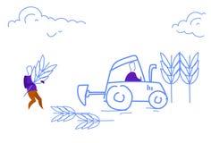Les hommes labourant le croquis agricole réussi de concept de travail d'équipe de récolte de champ gribouillent horizontal illustration de vecteur