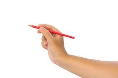 Les hommes remettent tenir des crayons Photographie stock