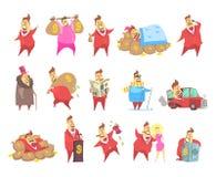 Les hommes riches en graisses de millionnaire dans le costume rouge, caractère capitaliste drôle dans différentes situations diri illustration libre de droits