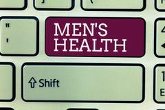 Les hommes s des textes d'écriture de Word est santé Concept d'affaires pour l'état de bien-être physique et mental complet des h photos stock