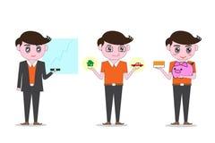 Les hommes s'habillent dans l'orange polie, tenant la voiture modèle et la maison Idées d'investissement et crédit et épargne Image libre de droits