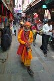 Les hommes saints célèbrent le festival d'INDRA Jatra Photographie stock libre de droits