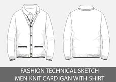 Les hommes techniques de croquis de mode tricotent le cardigan avec la chemise Photographie stock libre de droits