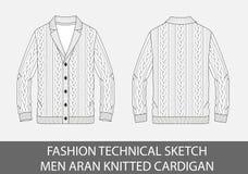Les hommes techniques de croquis de mode tricotent le cardigan droit d'aran Photographie stock