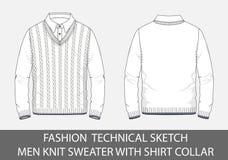Les hommes techniques de croquis de mode tricotent le chandail avec le collier de chemise Image libre de droits