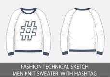 Les hommes techniques de croquis de mode tricotent le chandail avec le hashtag Photographie stock libre de droits