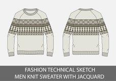Les hommes techniques de croquis de mode tricotent le chandail avec le jacquard Photos stock