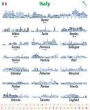 Les horizons italiens de villes ont isol? les ic?nes d?taill?es ?lev?es dans les teintes de la palette de couleurs bleue Illustra illustration de vecteur
