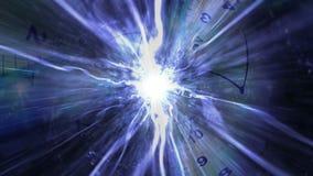 Les horloges percent un tunnel et des fibres, animation de concept de voyage de temps, rendu, fond, la boucle, 4k illustration stock