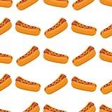 Les hot-dogs avec la saucisse, le ketchup de tomate et le dîner américain sans couture d'aliments de préparation rapide de modèle illustration libre de droits