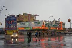 Les hot-dogs de Nathan, Coney Island Photos stock