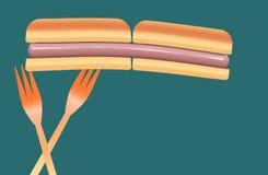 Les hot dogs sont le sujet de cette image colorée des hot dogs, des petits pains et des fourchettes en plastique de pique-nique illustration libre de droits