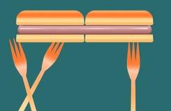 Les hot dogs sont le sujet de cette image colorée des hot dogs, des petits pains et des fourchettes en plastique de pique-nique illustration stock