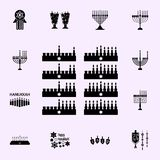 Les huit jours de l'ic?ne de Hanukah Ensemble universel d'ic?nes de Hanoucca pour le Web et le mobile illustration libre de droits