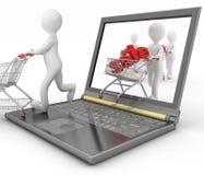 les humains 3d et un ordinateur portable, font les achats en ligne Images stock