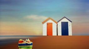 Les huttes de plage par la mer Photo stock