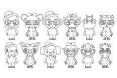 Les icônes animales mignonnes d'enfants de bande dessinée de mascotte de petits animaux de fille de garçon de Lineart ont placé l Photographie stock libre de droits