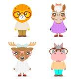 Les icônes animales mignonnes de bande dessinée de mascotte de petits animaux de fille de garçon d'hippopotame de cerfs communs d Photo stock