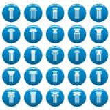 Les icônes antiques de vecteur de colonnes ont placé le style bleu et simple illustration de vecteur