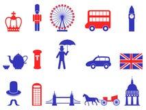 Les icônes britanniques BRITANNIQUES de l'Angleterre de couleur placent, dirigent Photographie stock