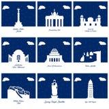 Les icônes célèbres de monuments et de points de repère des mondes ont placé le vecteur Illustration de Vecteur