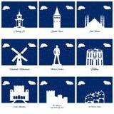 Les icônes célèbres de monuments et de points de repère des mondes ont placé le vecteur Illustration Libre de Droits