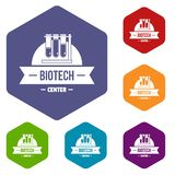 Les icônes centrales biotechnologiques dirigent le hexahedron illustration libre de droits