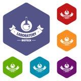 Les icônes centrales de découverte dirigent le hexahedron illustration libre de droits