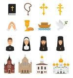 Les icônes chrétiennes dirigent des signes de religion de christianisme et la prière religieuse de mains de croix de bible du Chr illustration de vecteur