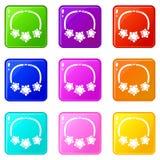 Les icônes d'étoile de collier ont placé la collection de 9 couleurs illustration de vecteur