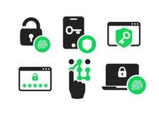 Les icônes d'authentification ont placé 01 illustration de vecteur